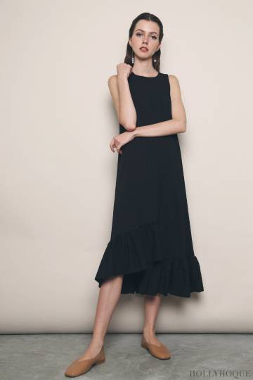 Aura Ruffles Maxi Dress Black (Restock)
