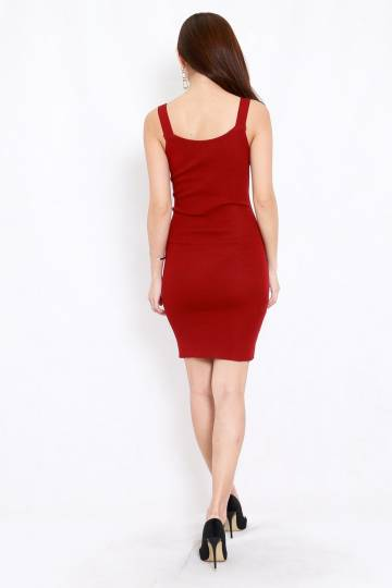 Lace Front Midi Dress (Maroon)