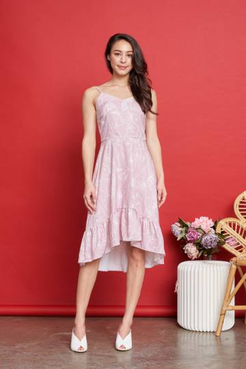 DENISE Floral Dress in Blush Pink