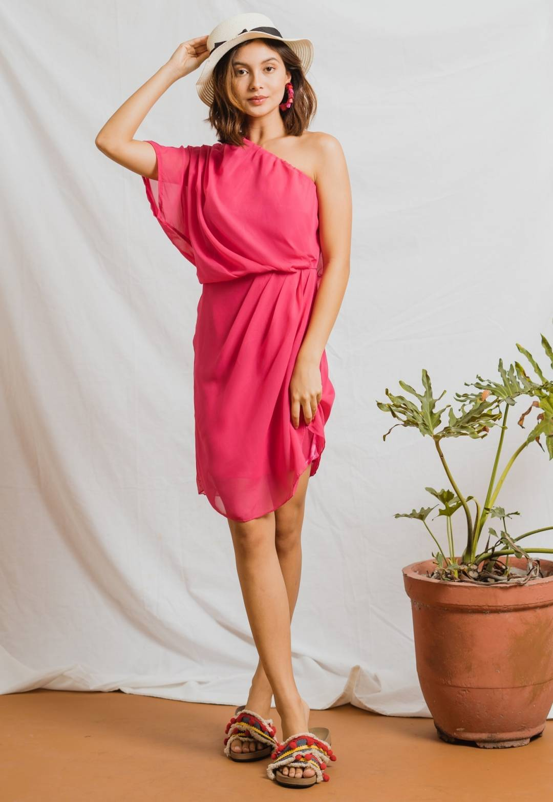 Lorainne Toga Throwover in Fuschia