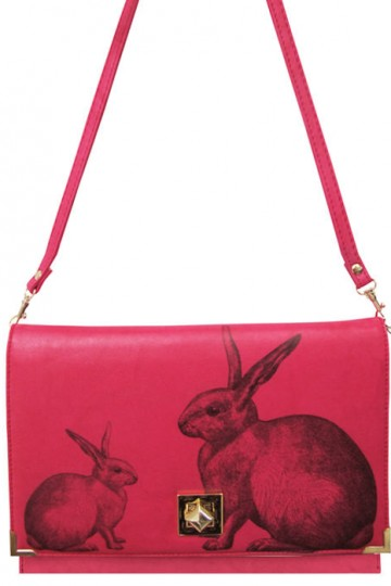 Heritage and Harlequin pink rabbit clutch bag | Little Moose | Cute bags, gifts, toys, jewellery and accessories from independent designers and famous brands