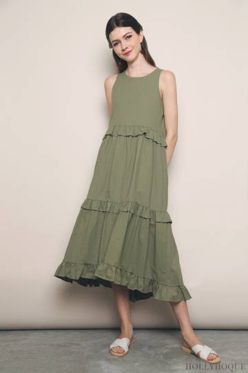 Alessia Tier Maxi Dress Olive