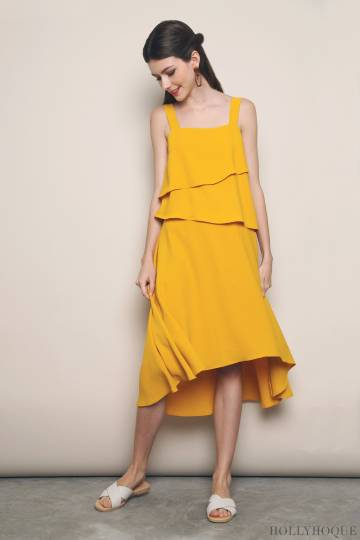 Rossa Tier Midi Dress Sunshine