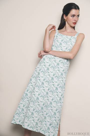 Sippy Floral Slit Dress Mint