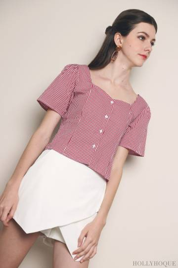 Ambrose Gingham Blouse Red
