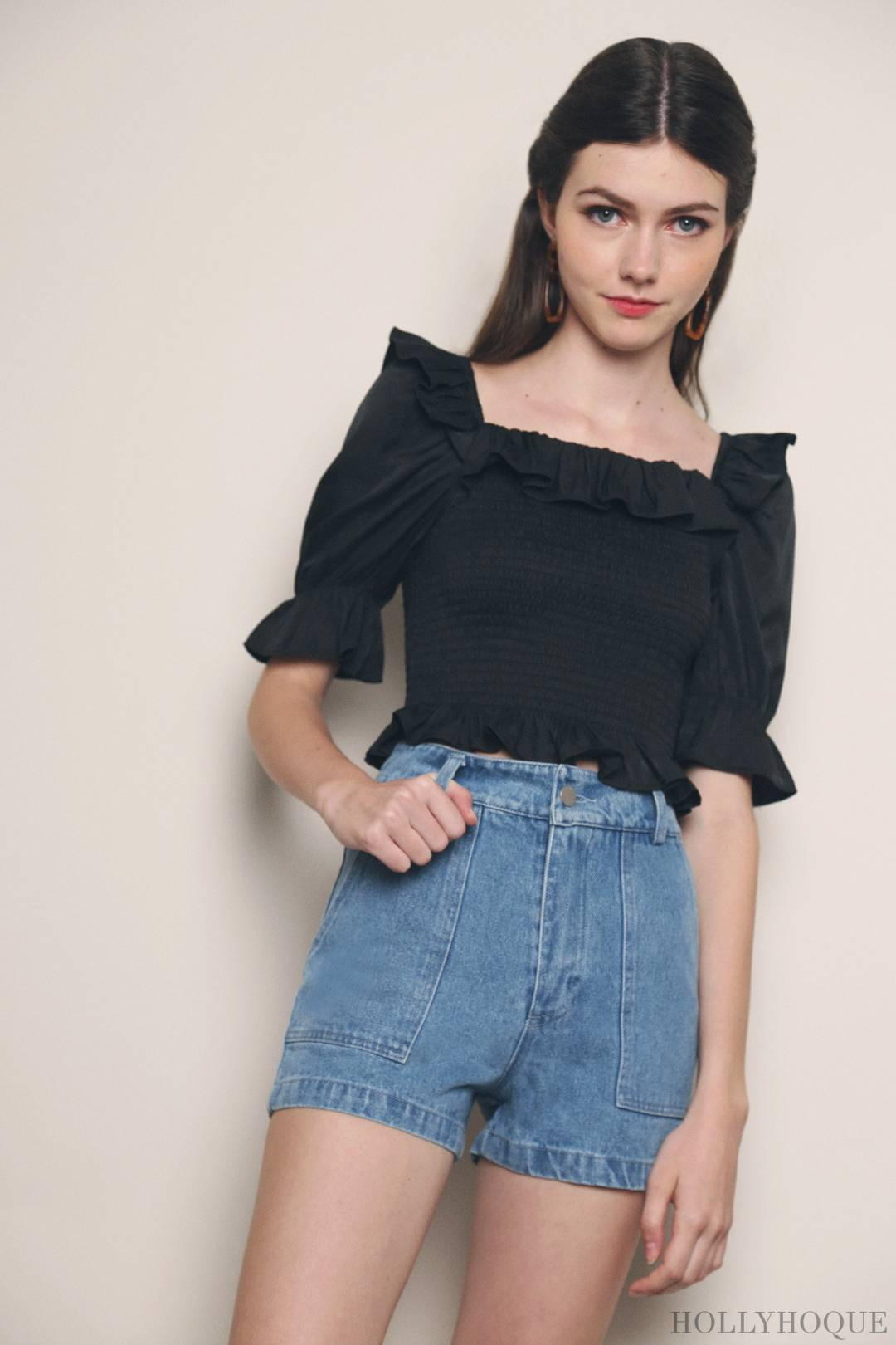 Anthea Ruffles and Smocked Top Black