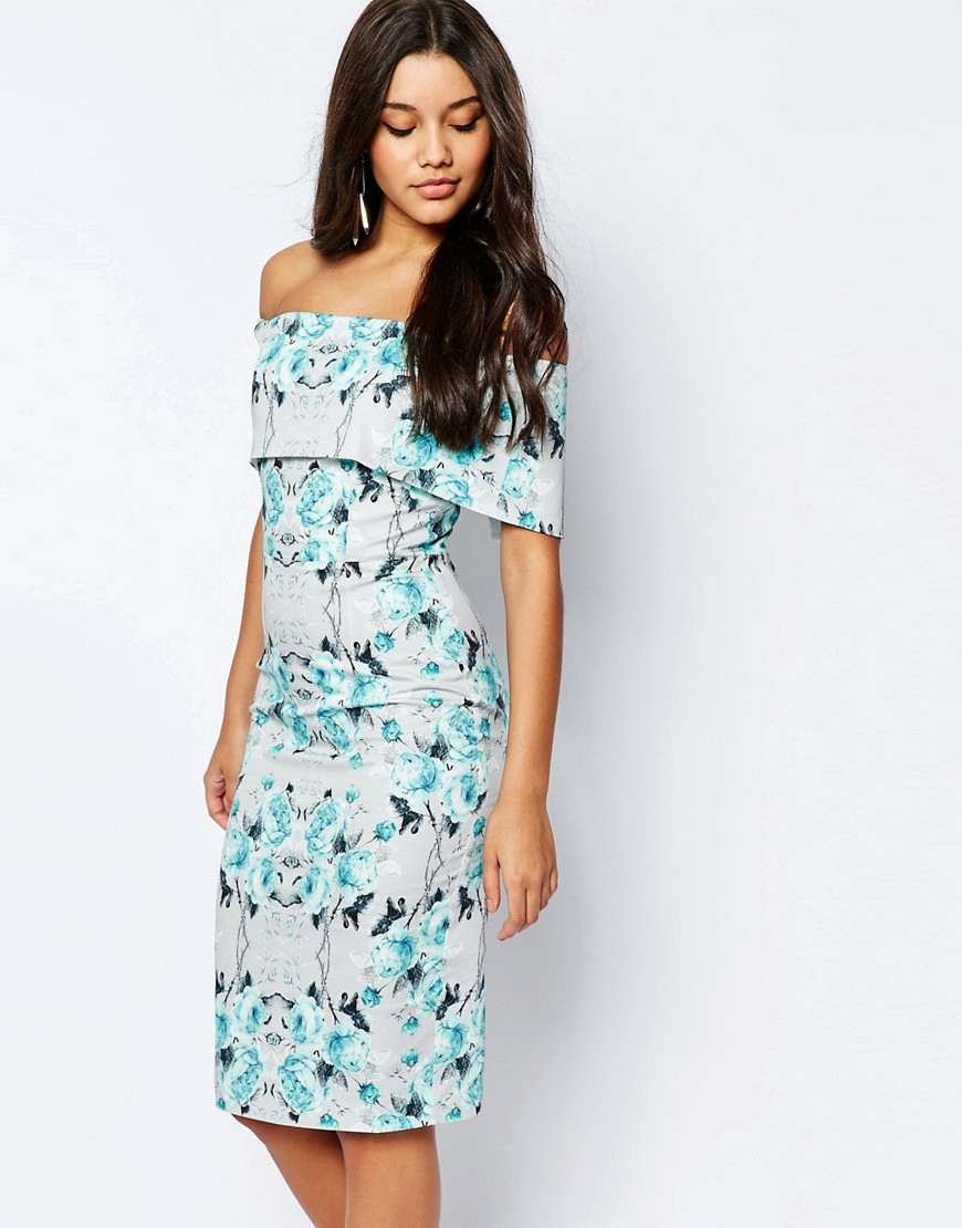 e41f81294c19 ASOS Off The Shoulder Bardot Midi Pencil Dress In Grey And Blue Floral. From  ASOS