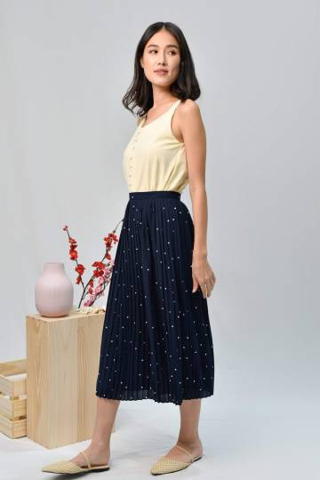 TULESA NAVY POLKA DOT PLEATED SKIRT