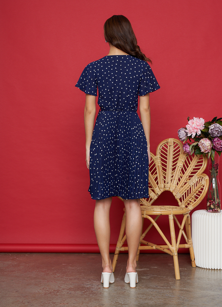 VALERIE Pleated Wrap Dress in Navy, By LVG
