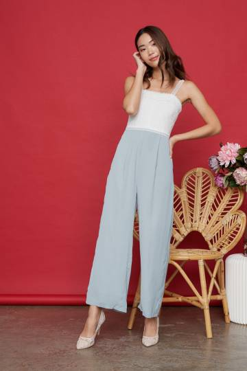 IRINA Crochet Jumpsuit in Sky Blue, By LVG