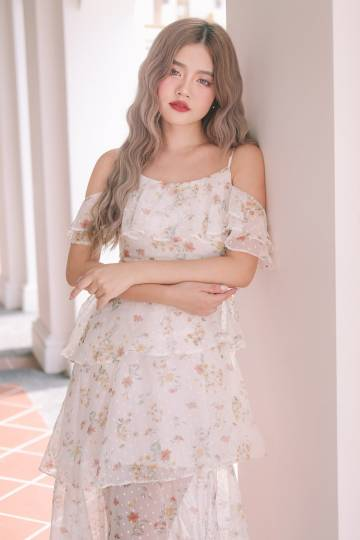 Camila Floral Layered Dress in White