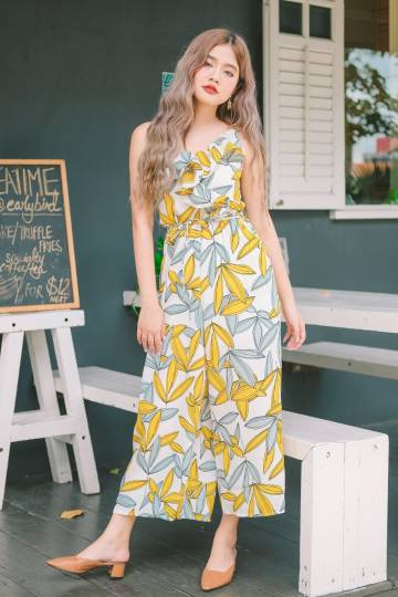 Carla Tropical Print Jumpsuit