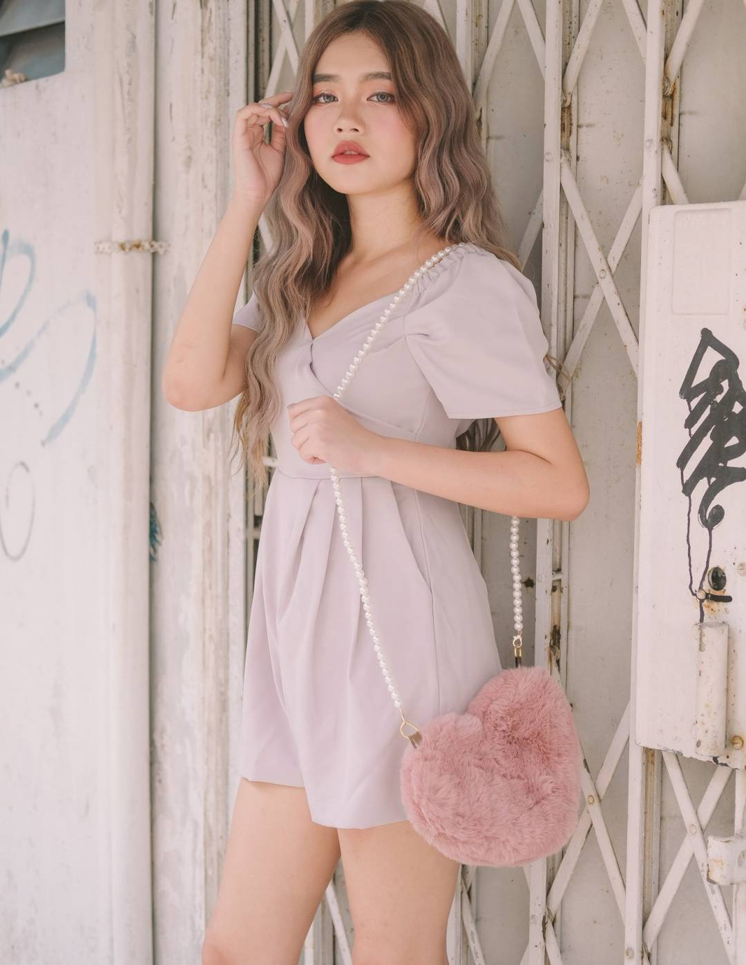 Lucy Surplice Romper in Lilac Grey