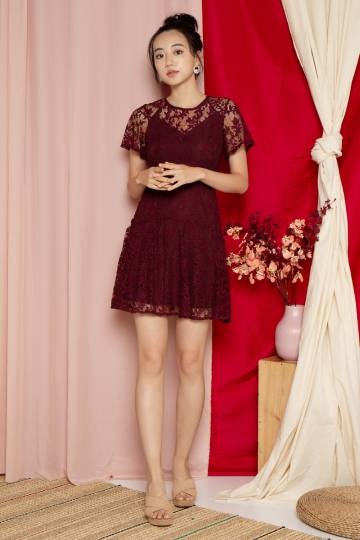 Floria Lace Overlay Dress in Wine