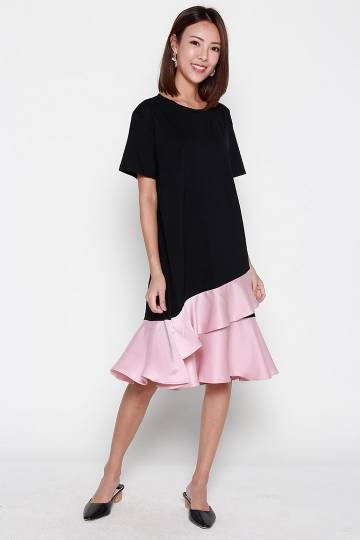 Grace Flare Dress in Black and Pink