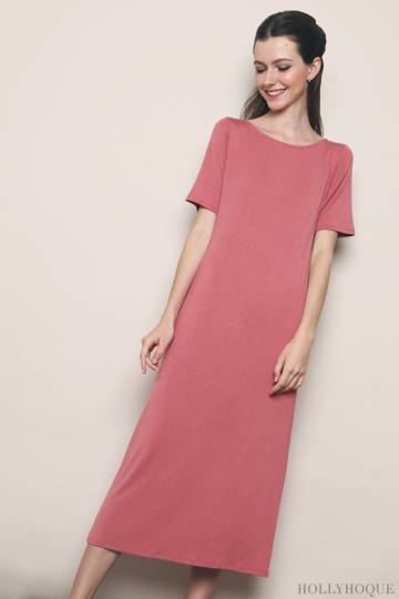 Sunny Jersey Slit Maxi Dress Tea Rose