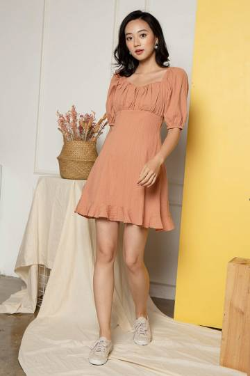 *MADEBYWP* Kelly Pouf Sleeve Dress in Coral