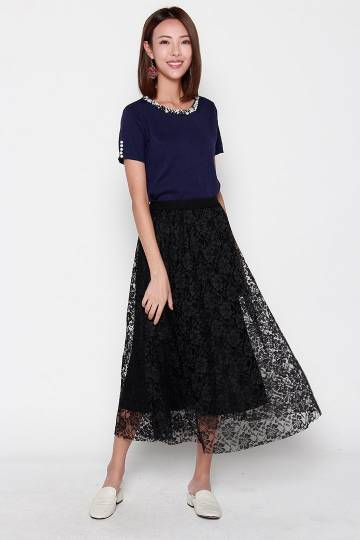 Meagan Lace Skirt in Black