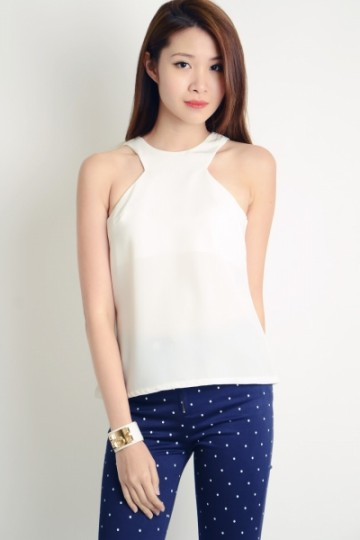 Sharp Cut In Top in White