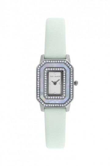 Ted Baker Dainty Silver/Mint Smooth Leather Watch