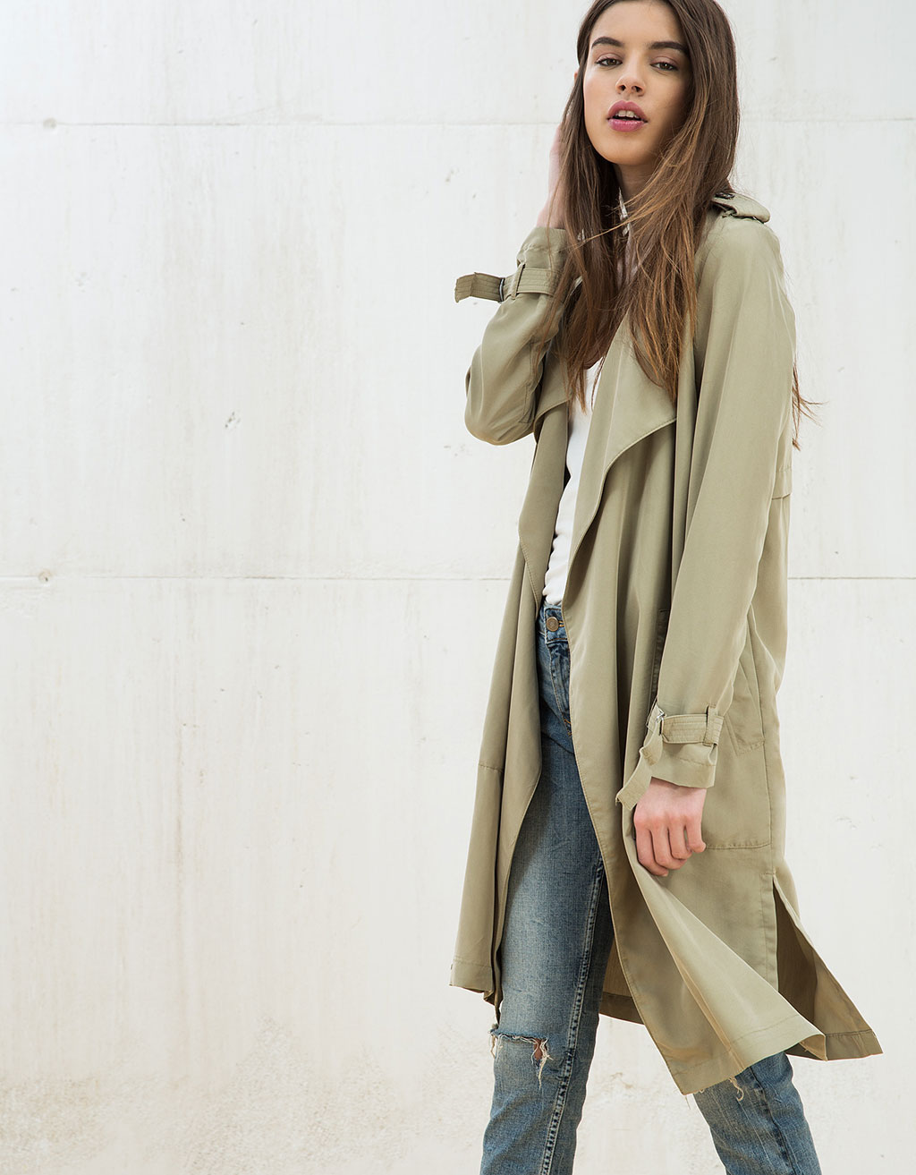 36d3f7f534331 Long trench coat - Jackets - Bershka Singapore - ShopperBoard