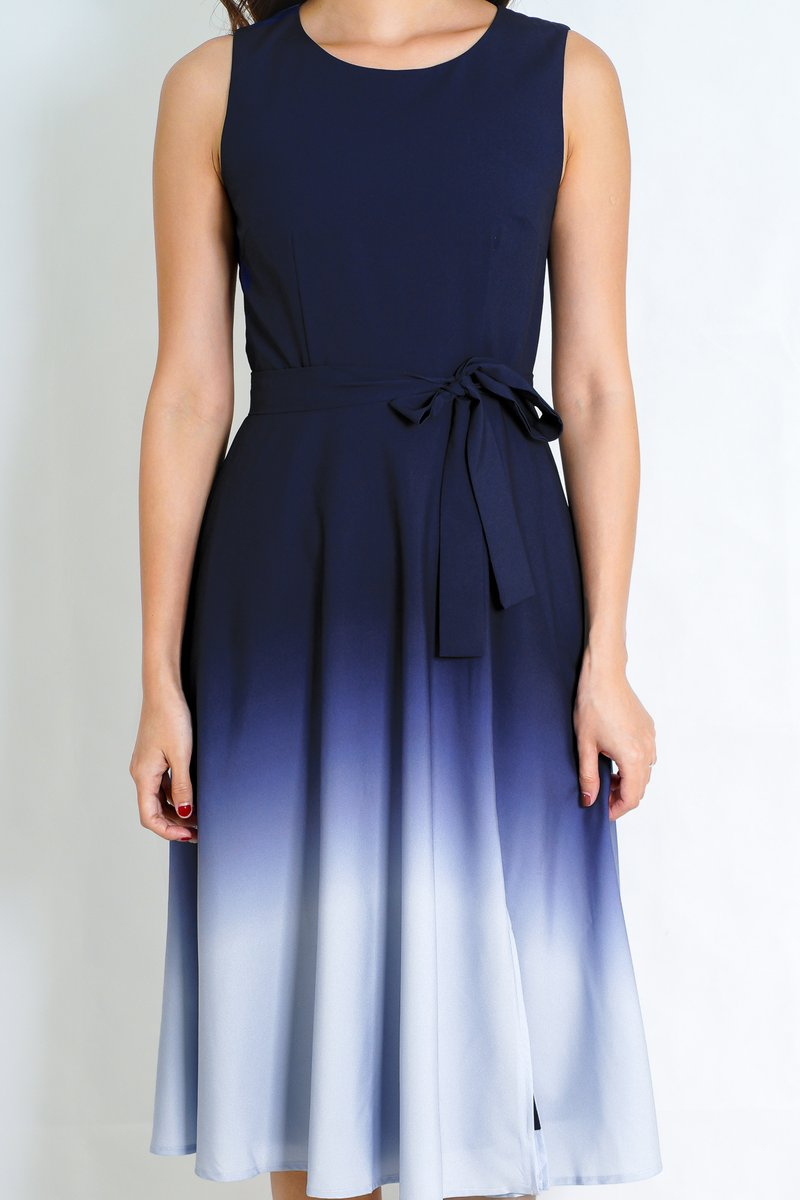 Jennelle Ombre Dress in Navy/Grey (Size S)