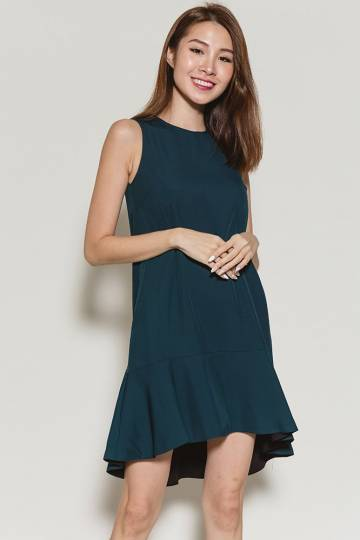 Marivel Reversible High-Low Hem Dress (Emerald/Black)