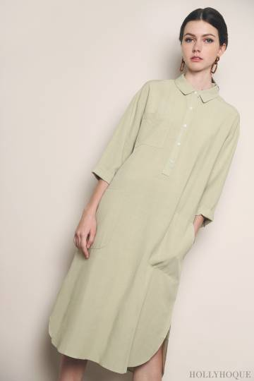 Miller Pocket Shirt Dress Sage (Restock)