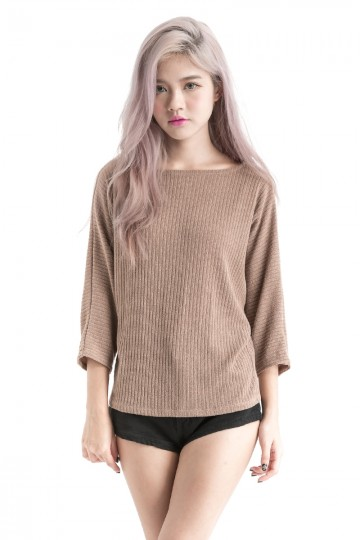 Ribbed Sleeved Top (Mocha)