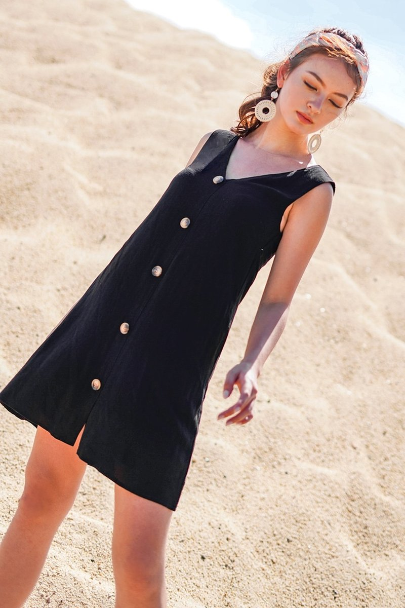 SIENA BUTTON DOWN V-NECK SHIFT DRESS #MADEBYLOVET (BLACK) *BACKORDER*