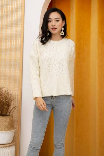 Perez Knit Pullover in Cream
