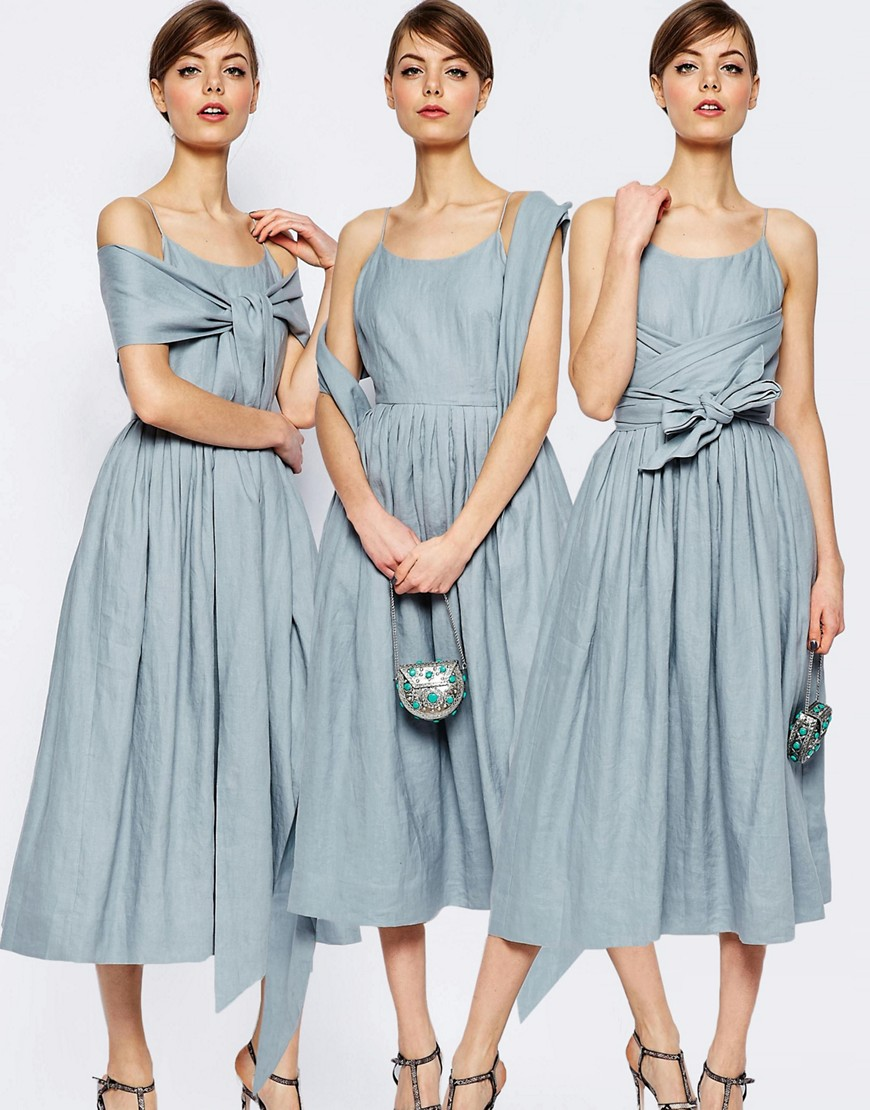 a114bb9e86 ASOS Linen Multiway Debuatante Midi Prom Dress - ShopperBoard