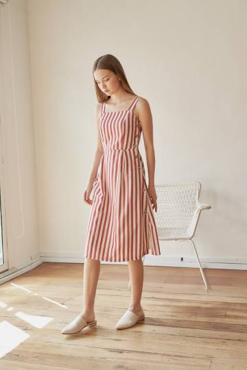 VENICE Stripe Button Dress in Rust