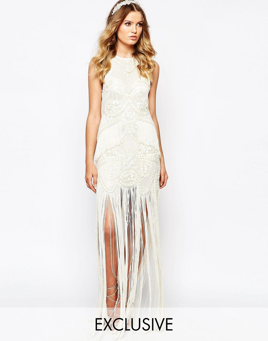 250c93f48dd0 A Star Is Born Bridal Luxe Embellished Maxi Dress With Fringe Skirt ...