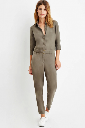 Contemporary Belted Button-Front Jumpsuit