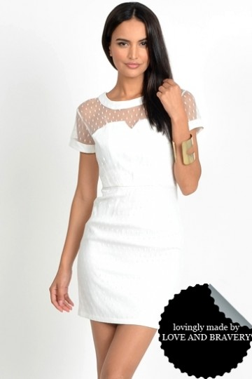 RESTOCKED LAB CHATEAU MESH OVERLAY BUSTIER DRESS WHITE