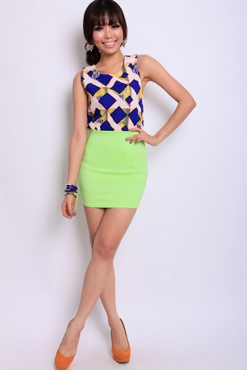The Cool Kids Mini Skirt in Green