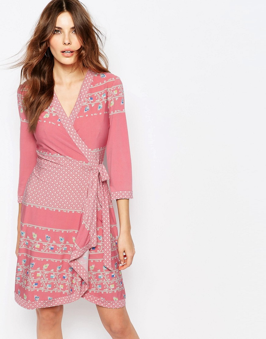 ae29c2ed59508 BCBGMaxAzria Adele Printed Wrap Dress in Jersey - ShopperBoard
