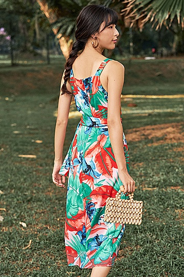 Janiella Tropical Printed Belted Dress