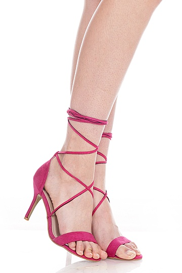 Nikki Laced Up Heels in Magenta