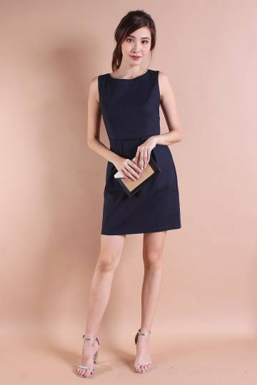 RESTOCKED** AMBER TULIPS WORK DRESS IN MIDNIGHT NAVY [S/M/L]