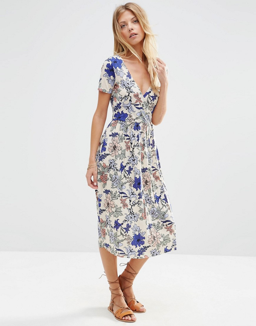 034c9dcc1b6 ASOS Wrap Midi Dress with Pleats in Floral Print - ShopperBoard