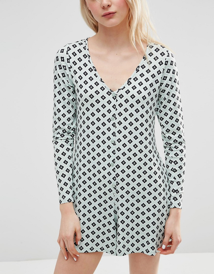 b5ad59e34086 ASOS Jersey Button Up Playsuit in Tile Print - ShopperBoard