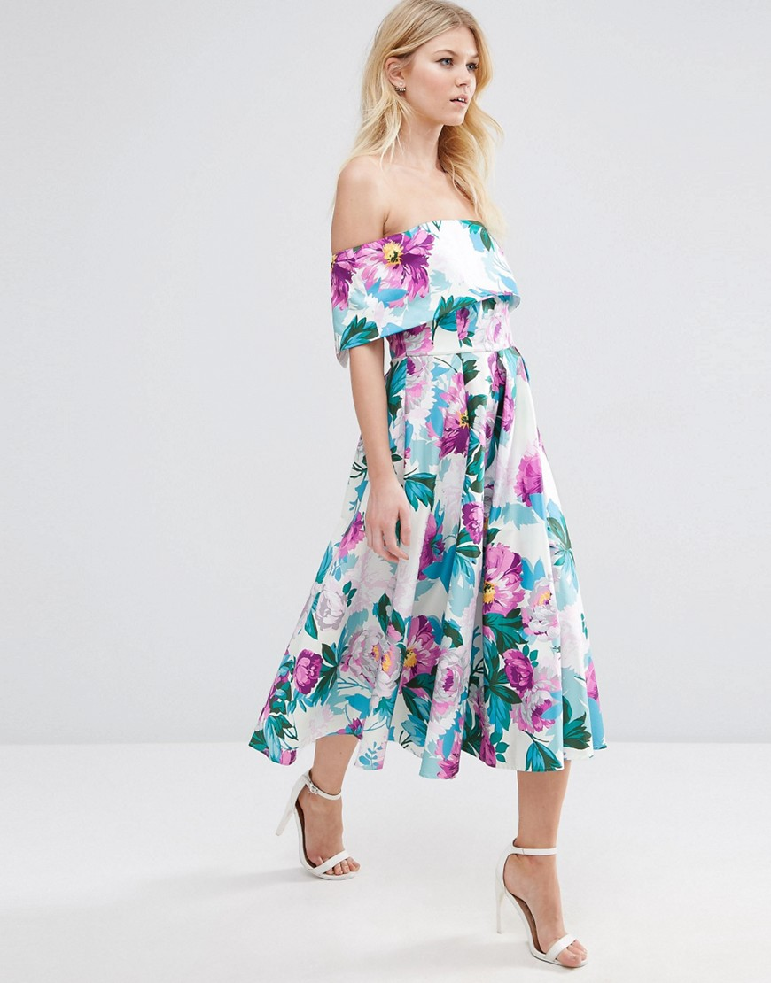 195179e7c3bb8 ASOS PETITE Off The Shoulder Midi Prom Dress In Bright Purple Floral ...