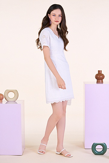 Danite Eyelet Dress in White