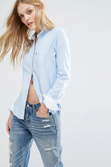 Abercrombie & Fitch Oxford Stripe Shirt with Roll Sleeve