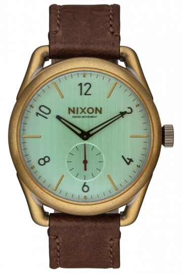 C39 Leather - Brass/Green Crystal/Brown