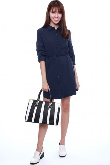 LORELLE BELTED SHIRT DRESS - NAVY