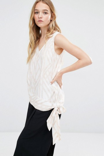 Neon Rose Sleeveless Top in V Neck with Tie Belt