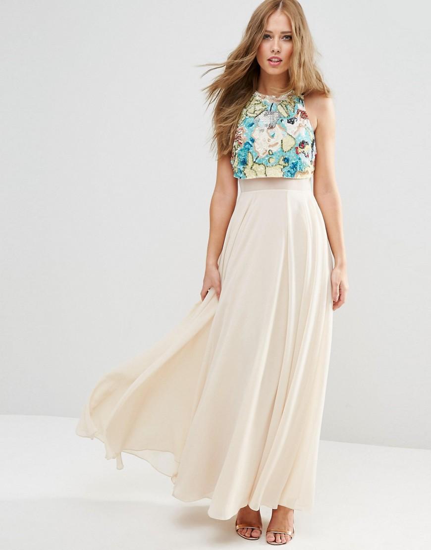 810fb9d8608 ASOS Multicoloured Embellished Crop Top Maxi Dress - ShopperBoard